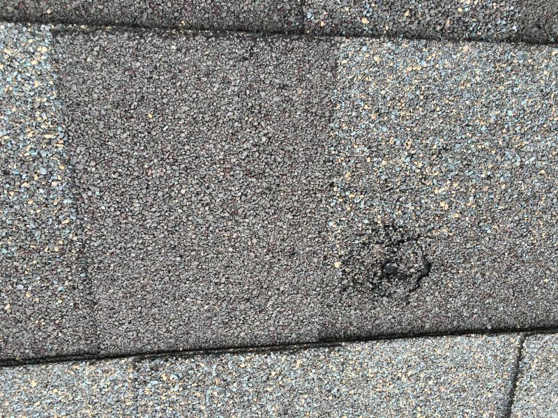 Holes in decking and shingle from large hail